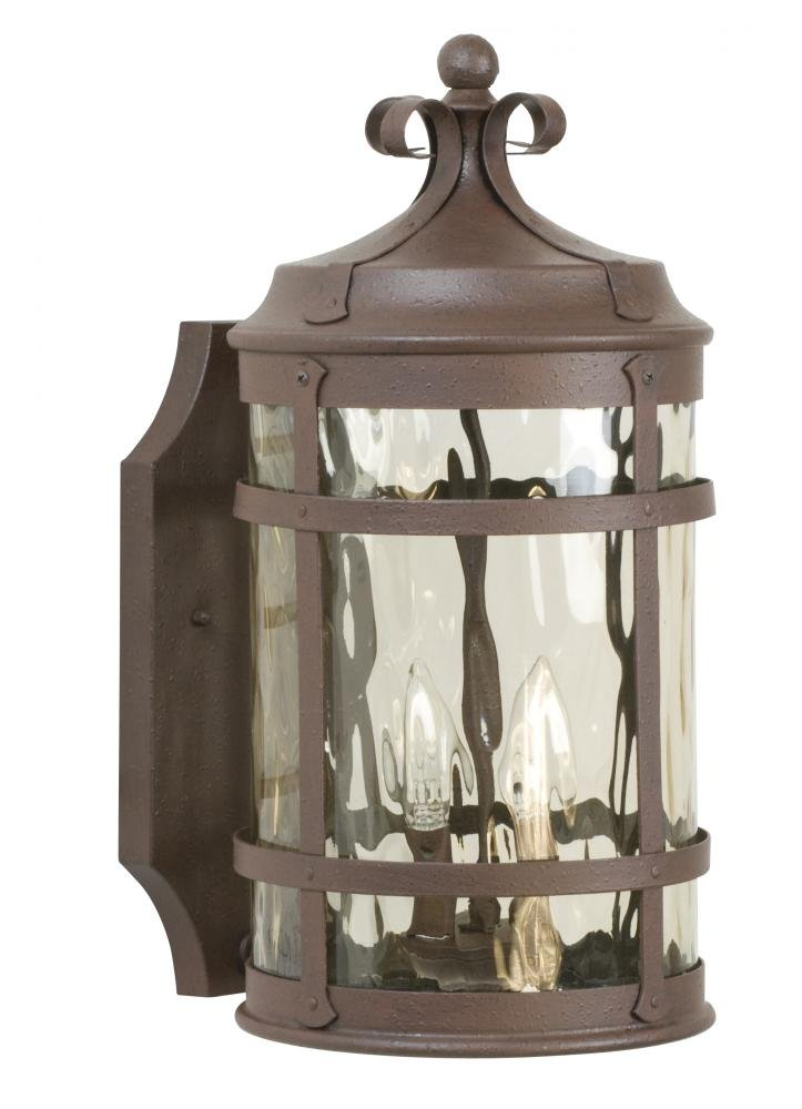 Craftmade Z5014-91 Wall Lantern with Hammered Clear Glass Shades, Rustic Iron Finish by Craftmade  B00ECU3URO