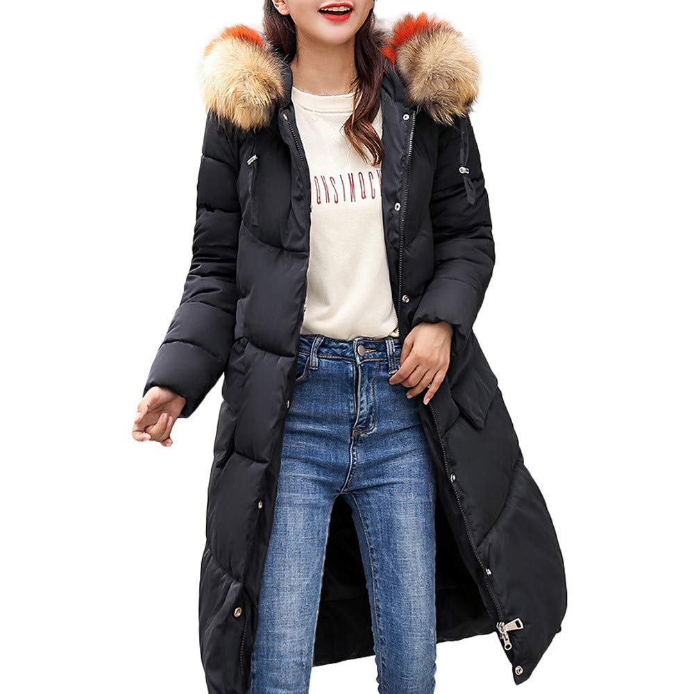 WOCACHI Womens Long Down Coat Thick Warm Overcoat Jacket Hooded Winter Outerwear Clearance Sale Promotion Deals Autumn Winter Blouses Tops Shirts Trench Coats