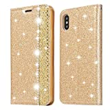 Glitter Leather Case for iPhone Xr,Gold PU Wallet Case,Ostop Luxury Diamond Stand Holder Purse Flip Cover with Card Slot,Dual Layer Shockproof Stylish Shiny Rhinestone Shell