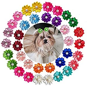 yagopet 40pcs/Pack 20pairs Cute New Dog Hair Bows with Rubber Bands Pearls Flowers Topknot Mix Styles Dog Bows Dog Flower Pet Grooming Products Dog Headdress Topknot 14