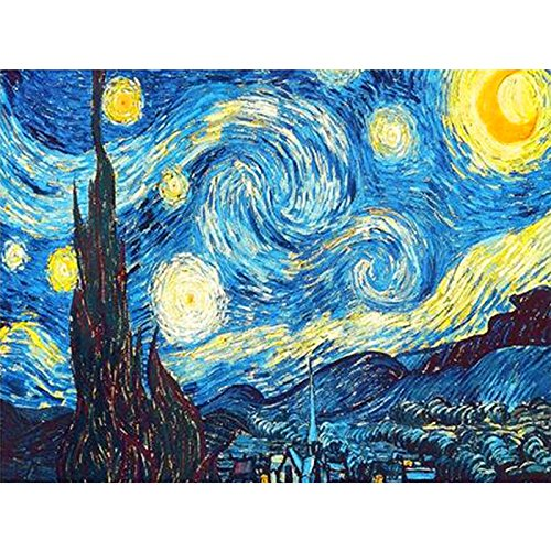 Faraway 5D DIY Crystal Full Diamond Painting Van Gogh The Starry Night Round Drill Rhinestone Painting Embroidery for Wall Decoration 12X16inch -