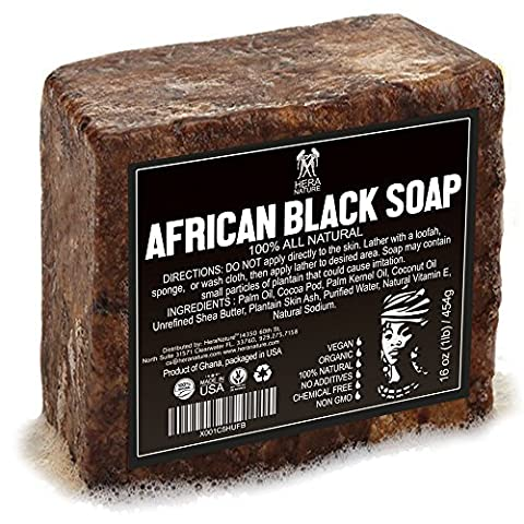 Best Raw ORGANIC AFRICAN NATURAL BLACK SOAP, for Acne Treatment, Eczema, Dry Skin, Psoriasis and Scars. 100% Pure & Natural, Imported From Ghana - 1lb - Therapy Bath 1 Lb Powder