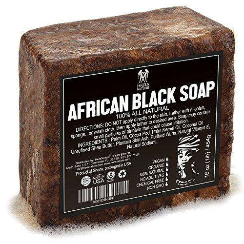 Best Raw ORGANIC AFRICAN NATURAL BLACK SOAP, for Acne Treatment, Eczema, Dry Skin, Psoriasis and Scars. 100% Pure & Natural, Imported From Ghana - 1lb (16oz)