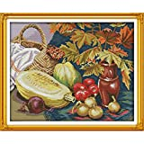 Kuwoolf Fruits and Vegetables Restaurant Kitchen Decorative Counted Cross Stitch Sets Full Embroidery Kits DIY Handmade Sew Needle Arts 14CT