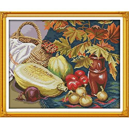 Kuwoolf Fruits and Vegetables Restaurant Kitchen Decorative Counted Cross Stitch Sets Full Embroidery Kits DIY Handmade Sew Needle Arts 14CT by Kuwoolf