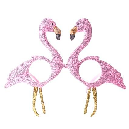 OULII Novedad Flamingo Gafas de sol Glittered Pink Flamingo ...