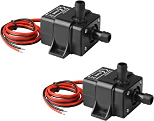 MOUNTAIN_ARK 2 Pack DC 12V Mini Submersible Water Pump 63 Gallon for Aquarium Fish Tank Hydroponic Fountains (Over Voltage Protection, Only Work with Voltage of DC 10.5V-13.5V)