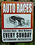 Vintage Auto Races Tin Sign , 12x16