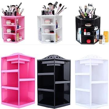 Tabletop Makeup Organizer, Large Round 360 Degree Rotating Box Case  Revolving Organizing Carousel Cosmetic Storage