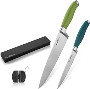 GrandMesser Chef Knife, 8 Inch Gyutou Knife and 5 Inch Universal Knife, High-Grade Carbon Stainless Steel Cooking Knife Set, Ergonomic Color Non-Slip Handle, Chef's Knife with Gift Box