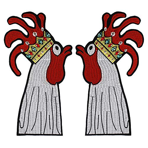 - Embroidery Rooster Patches Beaded Rhinestones Applique Decorated Iron on Diamond Badge for Jacket Backpack 1pair