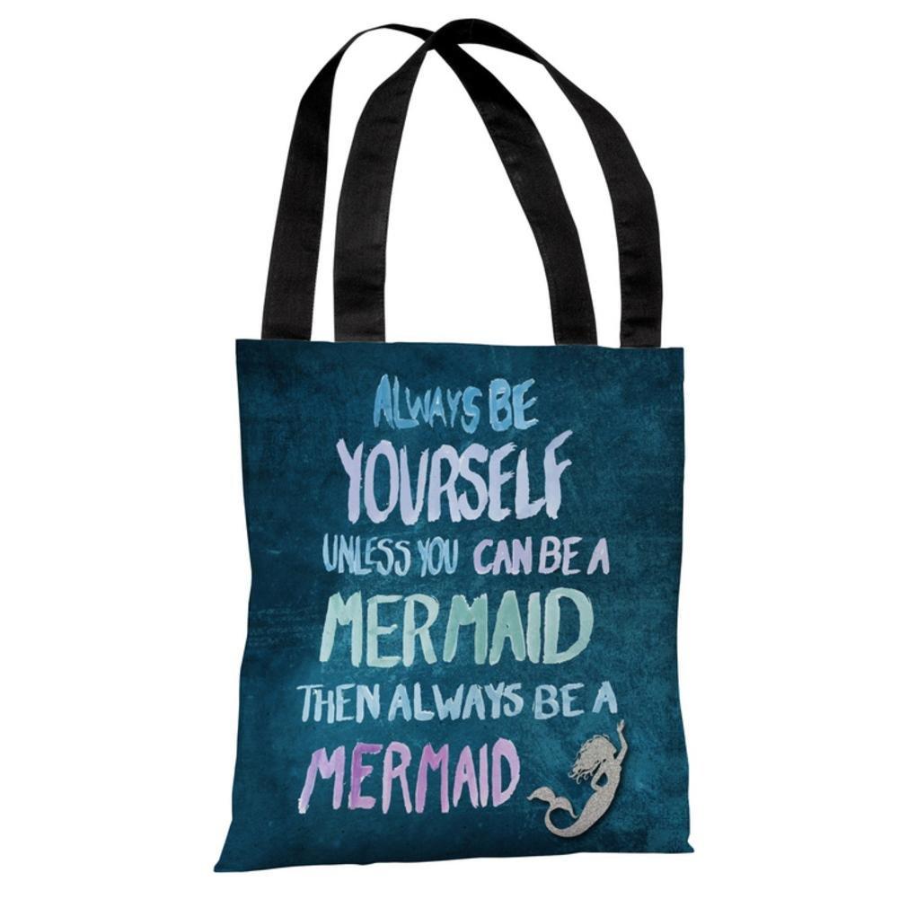One Bella Casa 73884TT18P 18 in Be a Mermaid Polyester Tote Bag44; Navy