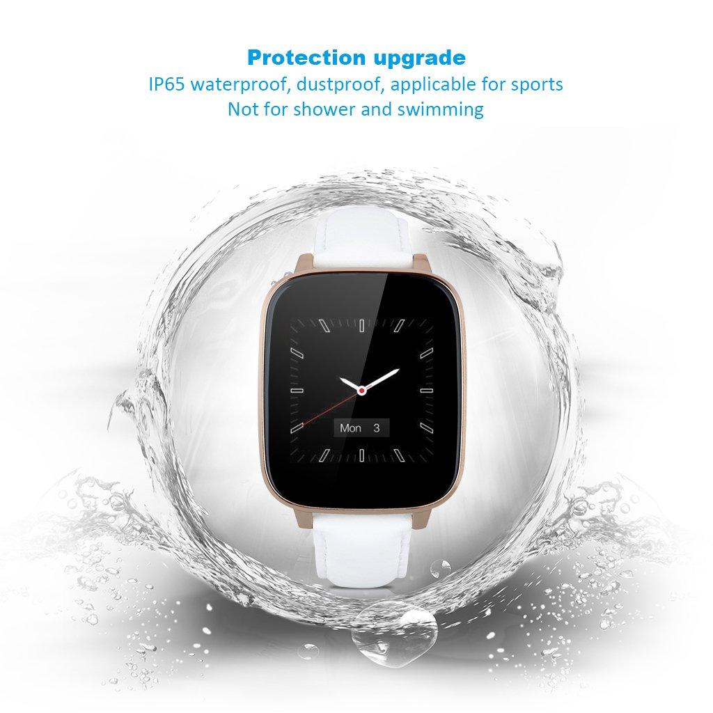 Zeblaze Crystal - Smartwatch Android Ios Bluetooth (Impermeable IP65, Antirobo, Podómetro, Correa Ajustable de Cuero), Blanco