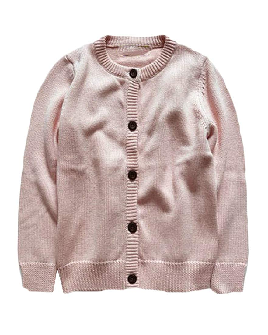 Wofupowga Girls Open Front Solid Color Knitted Autumn Button-Down Sweater Cardigan