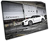 Bold Bloc Design - Nissan GT-R Import Grunge Urban Cars 135x90cm SINGLE Canvas Art Print Box Framed Picture Wall Hanging - Hand Made In The UK - Framed And Ready To Hang
