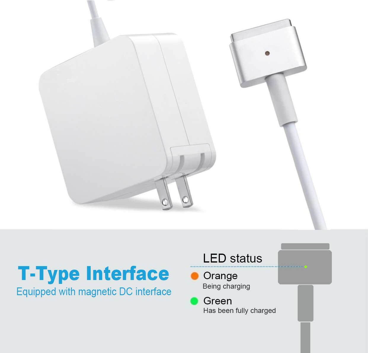 MacBook Pro Charger R60-T,MacBook Air Charger Replacement 60W Magsafe 2 Magnetic T-Tip Power Adapter Charger for Apple MacBook Retina-After Late 2012 by SODYSNAY (Image #2)