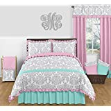 Skylar Turquoise Blue, Pink Polka Dot and Gray Damask 3 Piece Girls Full / Queen Bedding Set
