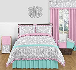 Skylar Turquoise Blue, Pink Polka Dot and Gray Damask Window Valance