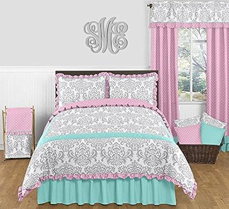 Sweet Jojo Designs 3-Piece Skylar Turquoise Blue, Pink Polka Dot and Gray  Damask Girls Full/Queen Bedding Set