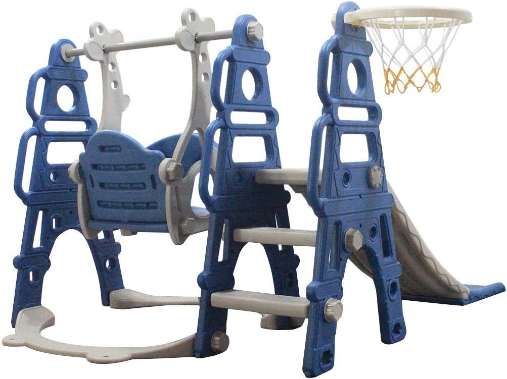 Homefami 3-in 1 Toddler Climber and Swing Set with Smooth Slide Basketball Hoop Easy Climb Stairs Safe HDPE Material for Indoor and Backyard