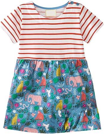 Vestido de la princesa de las niñas Niños Niñas Verano Casual Manga corta Vestido de algodón