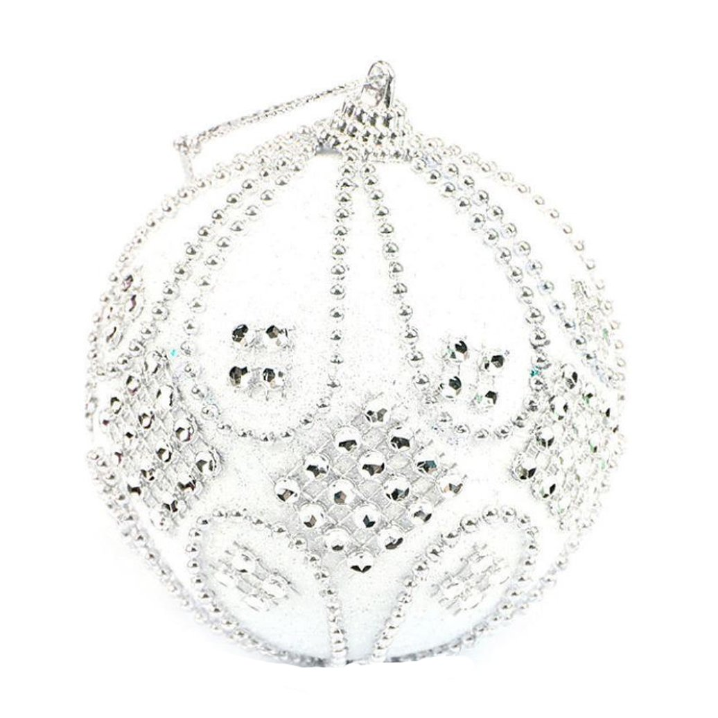 Christmas Ball Ornaments, Forthery Tree Balls for Holiday Wedding Party Decoration Ornaments Hooks (8CM, E)