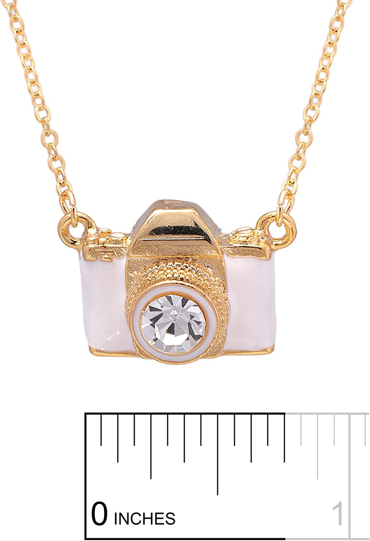camera necklace gold tone