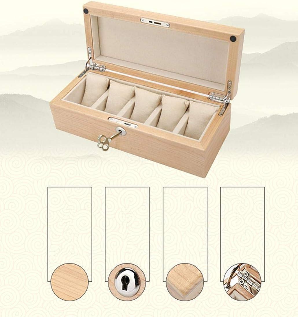Legno Solido Scatola Porta Orologi Slot Serratura Lussuosa Organizer Portatile Ma Signorina Orologio Display Storage Box B