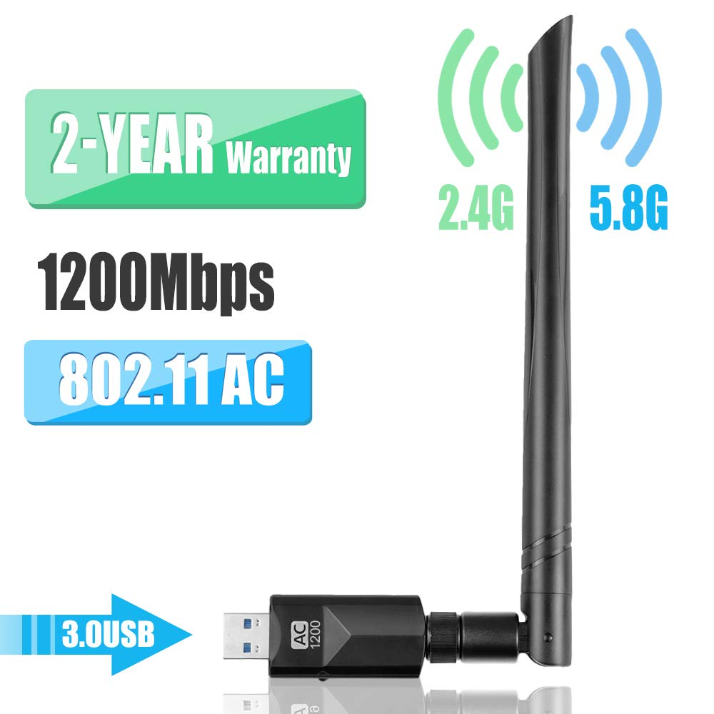 YIYOU WiFi Antena USB WiFi Adaptador 1200Mbps Dual Band (2.4G 300Mbps / 5.8 G 867Mbps) WiFi Dongle 5dBi Mini Receptor para PC/Desktop/Laptop/Mac Soporte ...