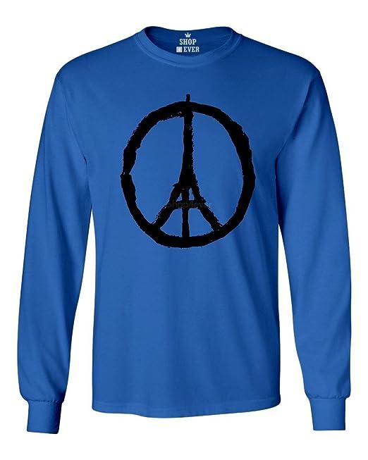 f1d7162d20 Shop4Ever Torre Eiffel Símbolo de la Paz París Camisa de Manga Larga Camisas  - Azul -  Amazon.es  Ropa y accesorios