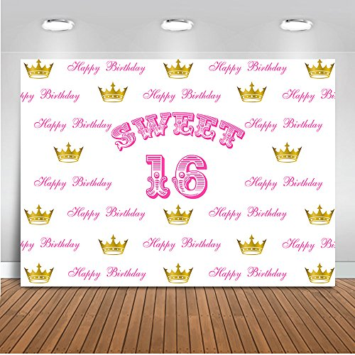 Mehofoto Sweet 16 Backdrop Gold Crown Step and Repeat Photography Background 7x5ft Vinyl Girl's Sweet 16th Birthday Party Decoration Backdrops Banner ()