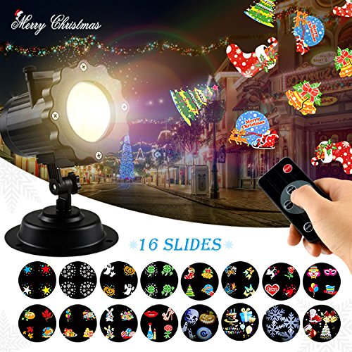 Christmas LED Projector Light - Skillink Waterproof Landscape Spotlight Outdoor and Indoor Party Lights with 16 Interchangeable Slides for Christmas Halloween Birthday Wedding Party