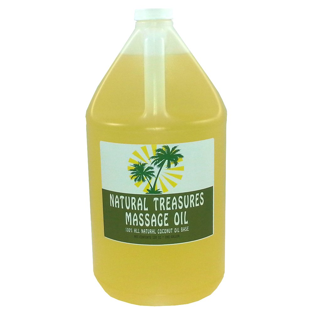 One Gallon Organic Gluten Free Massage Oil Coconut. Oil Base by Natural Treasures and Barclay Labs