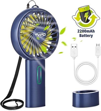 Tvird Ventilateur à Main Portable, Mini Ventilateur Silencieux Suspension,2200 mAh Grand Batterie,USB Rechargeable avec 3 Vitesses, Portable et