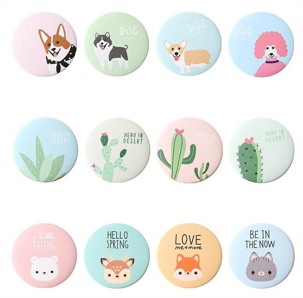 Yingealy Childrens Mirror Mini Round Cartoon Goose Pattern Small Glass Mirrors Circles for Crafts Decoration Cosmetic Accessory by Yingealy (Image #4)