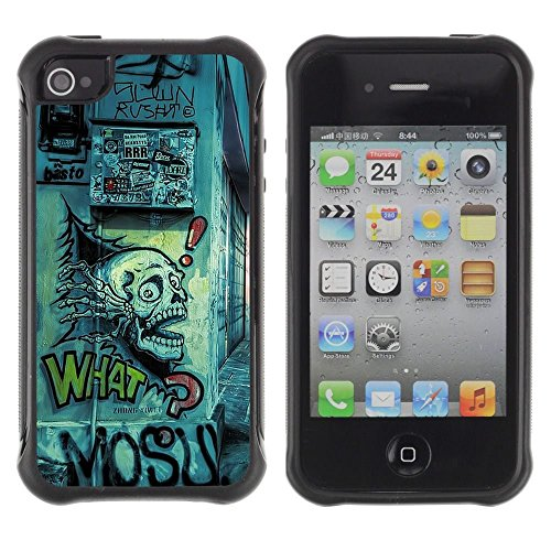 iPhone 4 / iPhone 4S , Grafiti Street Art Drawing Skull Quote Slogan