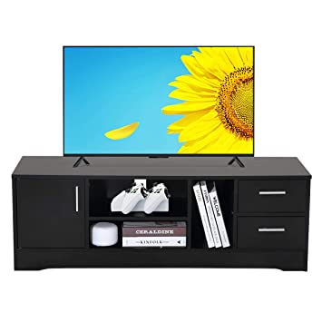 Meuble TV en Bois, Meuble TV avec Deux étagères, pour Salon ...