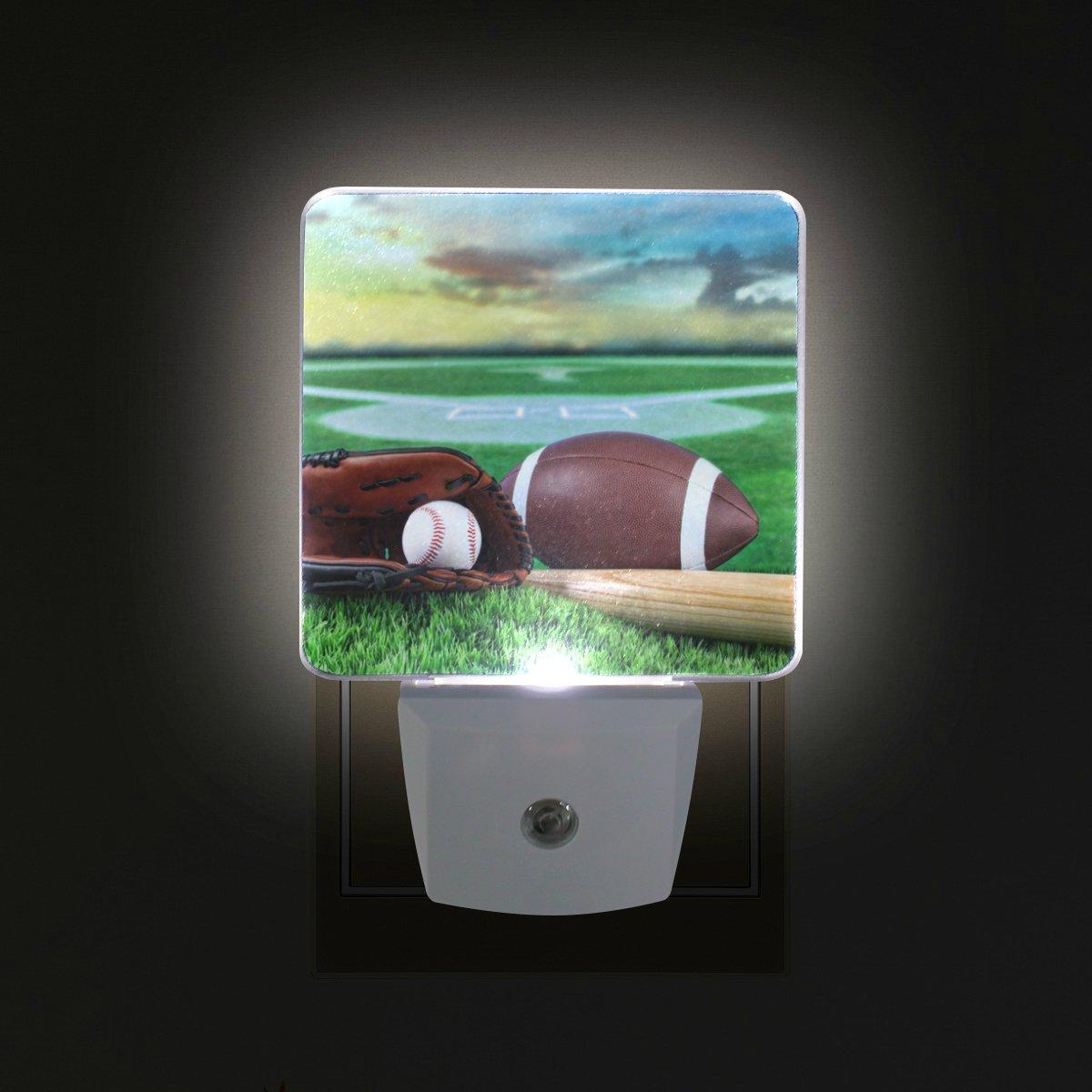 DEYYA American Football LED Night Light,Plug in Nightlights with Dusk to Dawn Sensor for Bedroom Bathroom Hallway Kitchen