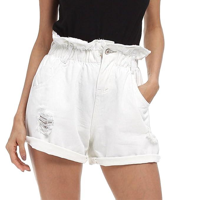 6d456a5487 Dexinx Señoras de la Alta Cintura Elástico Pantalones Cortos de Mezclilla  en Dificultades Casual Jeans Pantalones de Verano Rasgado Agujero Caliente  Blanco ...
