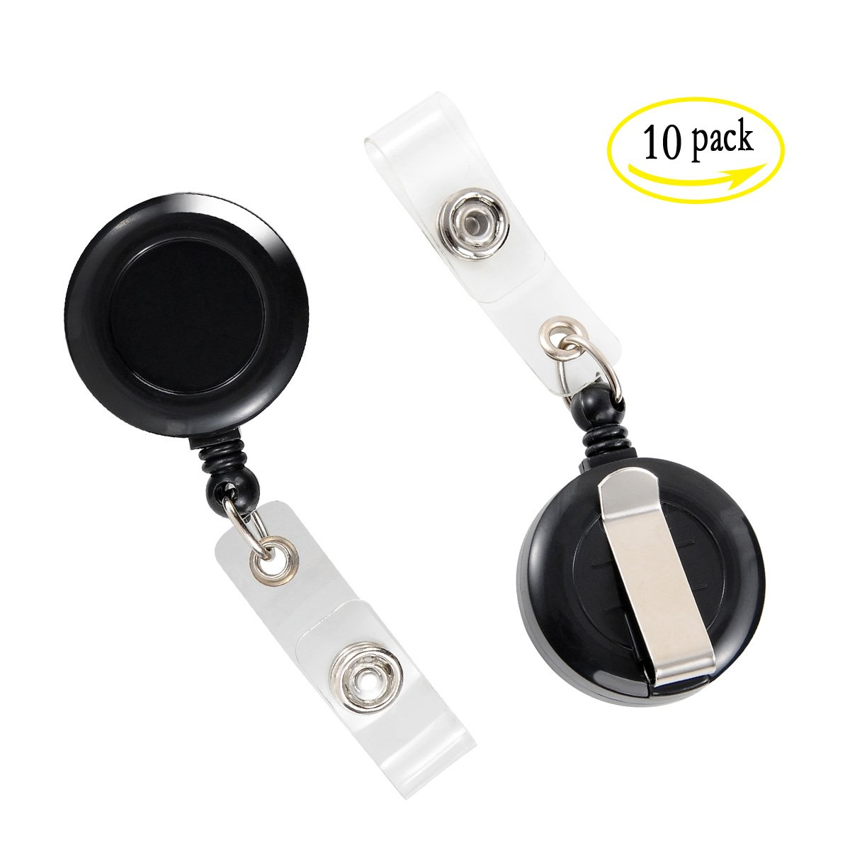LGEGE 10Pcs 100%NEW black Keys-ids-badges ID Badge Key Card Name Tag Holders(Retractable Reel)with Belt Clip