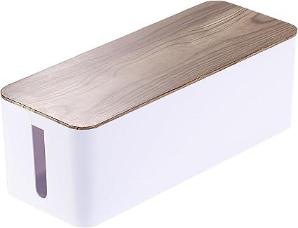 Organizador de cables de Callstel: caja para cables grande, 39 x 15,5 x 14 cm, con aspecto de madera de nogal y pies de goma (caja de carga): Amazon.es: Electrónica