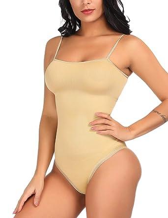 1f46c4901b9a Lover-Beauty Tummy Control Body Shaper Spaghetti Strap Shapewear Slimming  Bodysuit Beige S