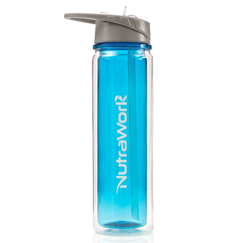 Botella de agua de plástico aislante nutrawork (20 oz) - Aislamiento de doble pared botella de agua con paja - vacío sellado botella de deporte - Boca Ancha ...
