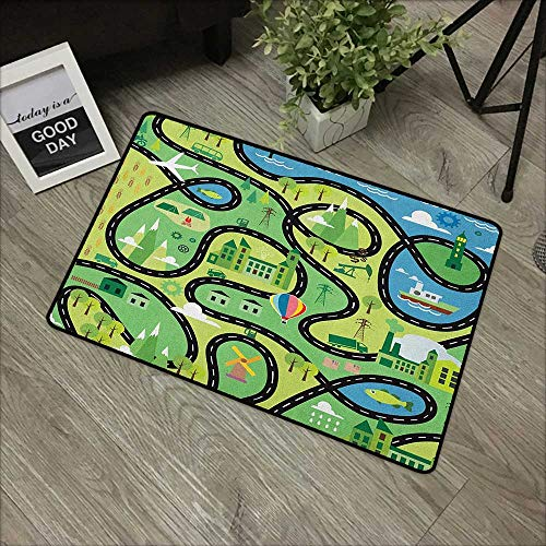 Buck Haggai Welcome Door mat Boys,Aerial View of Coastal Suburbs with Roads Cartoon Style Hot Air Balloon Windmill, Multicolor,for Entry, Garage, Patio, High Traffic Areas,24
