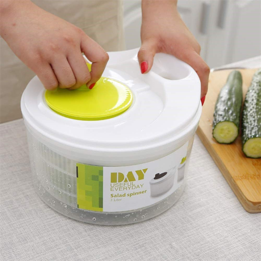 Salad Spinner Vegetable ,Washer with Bowl Spinner Lettuce Dryer Dehydrator White Green by Yalian