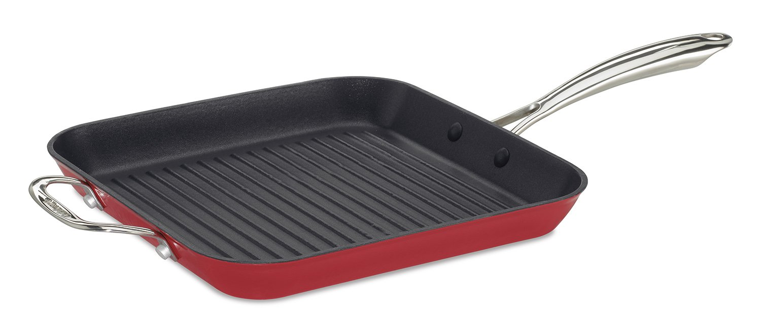 Cuisinart CIL30-20HR CastLite Non-Stick Cast Iron Square Grill Pan with Helper, 11-Inch, Red