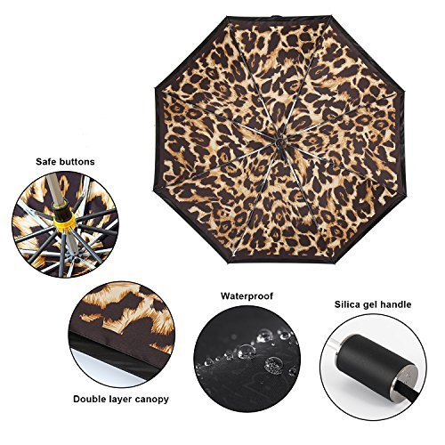 Kobold Tavel Umbrella Compact Mini Lightweight Travel Umbrellas for Women Double Layers Canopy for Rain Sun Protection Comfortable Handle Leopard Print by Kobold (Image #4)