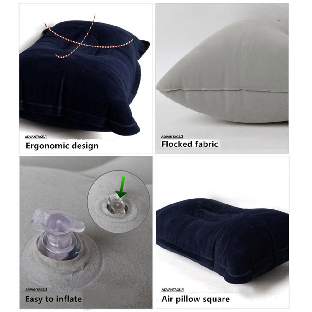 Trimengo Ultralight Inflatable Pillow Small Squared Flocked Fabric Air Pillow for Hiking Camping,Traveling,Neck /&Lumbar Support