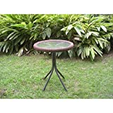 International Caravan 3186-TBL-MO-IC Furniture Piece Outdoor Resin Wicker and Glass-Top Bistro Table