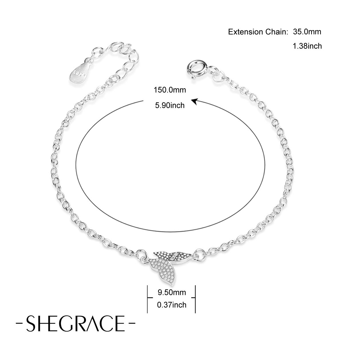 Sweetiee 190mm Bacelet Femme Simple en Pur Argent 925 Sterling avec Ornement Papillon Plaitne